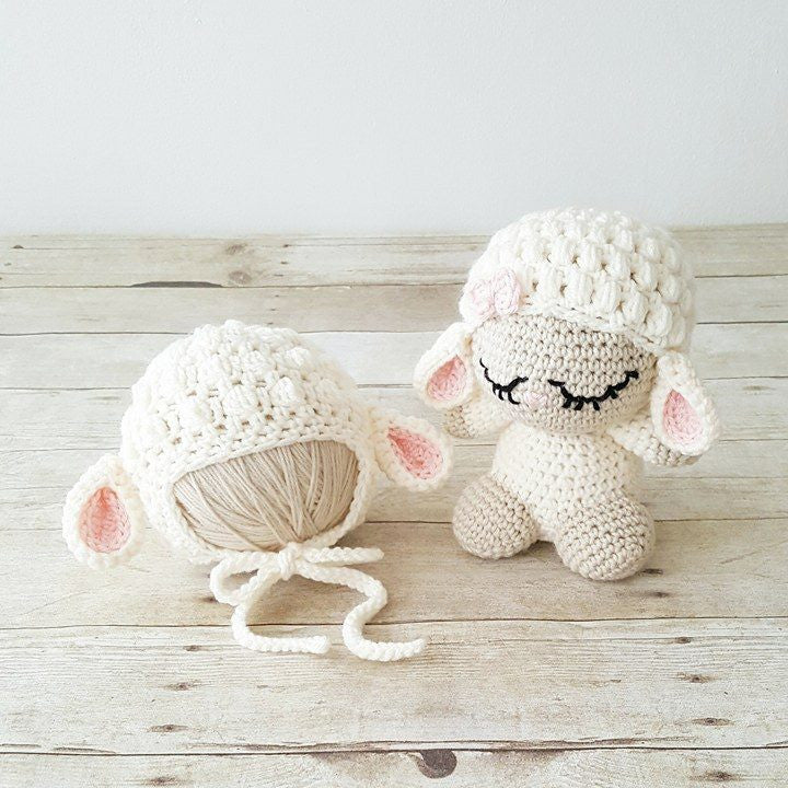 Crochet Baby Lamb Hat Beanie Stuffed Animal Doll Toy Sheep Infant Toddler Newborn Nursery Decor Photography Photo Prop Baby Shower Gift