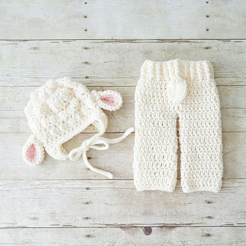 Crochet Baby Lamb Bonnet Beanie Hat Pants Diaper Cover Set Infant Newborn Baby Handmade Photography Photo Prop Baby Shower Gift Present Spring Easter - Red Lollipop Boutique