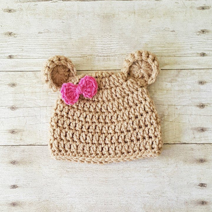 Crochet Baby Bear Hat Beanie Bow Infant Newborn Baby Toddler Child