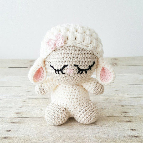 Crochet Baby Lamb Hat Beanie Stuffed Animal Doll Toy Sheep Infant Toddler Newborn Nursery Decor Photography Photo Prop Baby Shower Gift - Red Lollipop Boutique