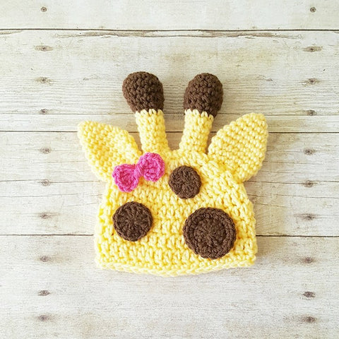 Crochet Baby Giraffe Hat Beanie Bow Infant Newborn Baby Toddler Child Photography Photo Prop Baby Shower Gift Present Baby Toddler Girl Hat