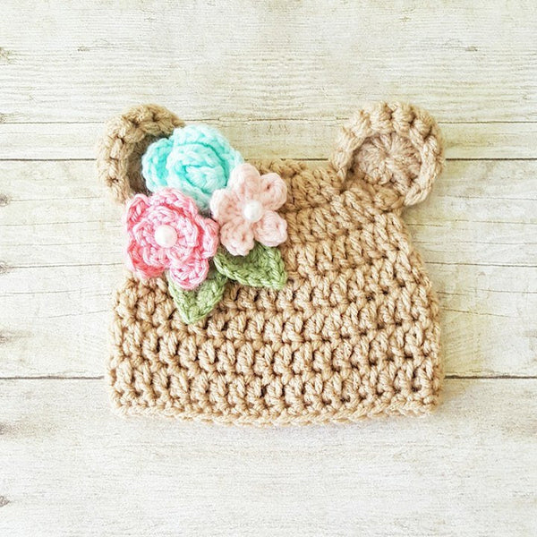 Crochet Baby Bear Hat Beanie Flowers Floral Spring Infant Newborn Baby Toddler Child Photography Photo Prop Baby Shower Gift Present - Red Lollipop Boutique