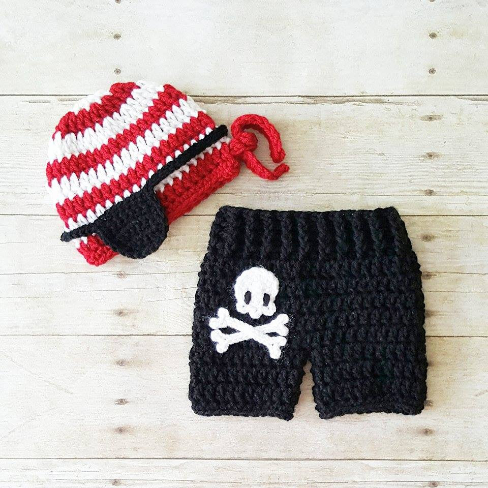 Crochet Baby Pirate Hat Beanie Shorts Diaper Cover Pants Set Skeleton Skull Bones Costume Infant Newborn Photography Photo Prop Shower Gift - Red Lollipop Boutique