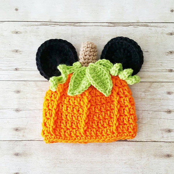 Crochet Mickey Mouse Pumpkin Beanie Hat Halloween Fall Infant Newborn Baby Toddler Child Adult Boy Photography Photo Prop Baby Shower Gift - Red Lollipop Boutique