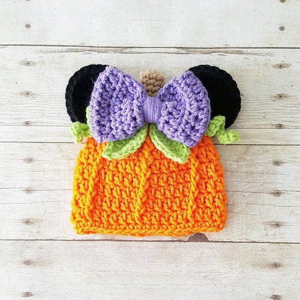 Crochet Minnie Mouse Pumpkin Beanie Hat Halloween Fall Infant Newborn Baby Toddler Child Adult Girl Photography Photo Prop Baby Shower Gift - Red Lollipop Boutique