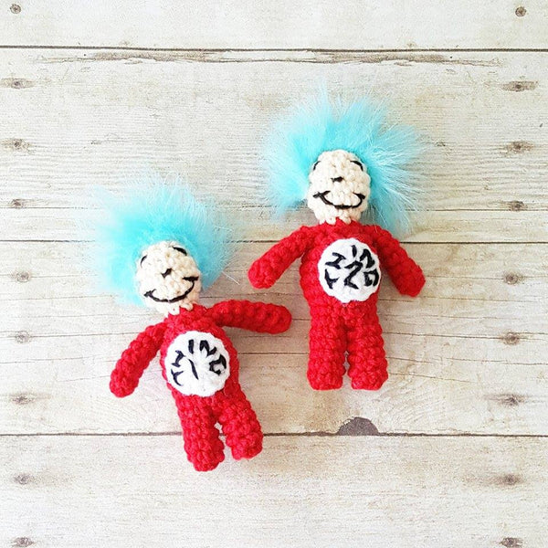Crochet Thing 1 Thing 2 Doll Toy Hat Bow Tie Dr. Seuss Cat In The Hat Infant Newborn Baby Photography Photo Prop Shower Theme Present Twins