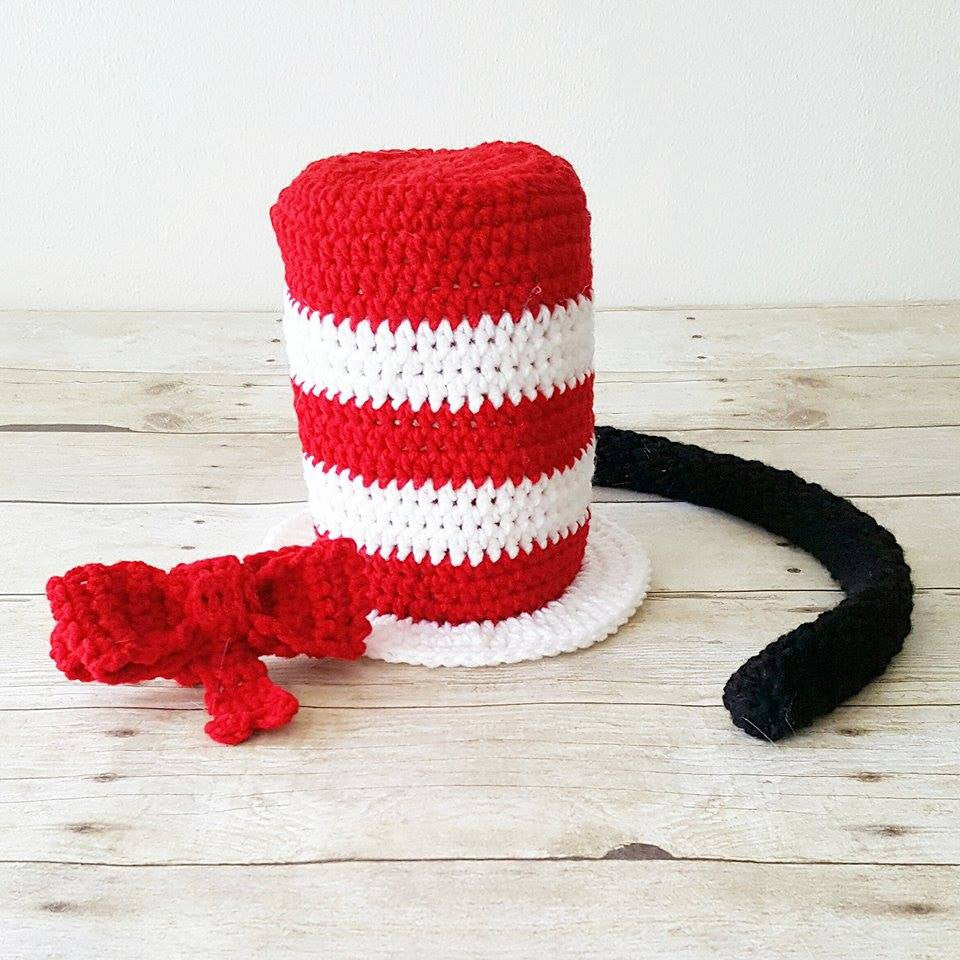 Handmade Crochet Knit Baby Hat Twins Thing 1 Thing 2 Cat In The Hat