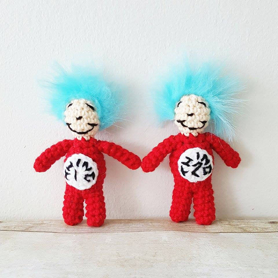 Crochet Thing 1 Thing 2 Doll Toy Dr. Seuss Cat In The Hat Infant Newborn Baby Photography Photo Prop Shower Theme Gift Present Twins