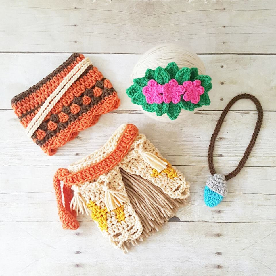 Crochet Baby Moana Set Shirt Tank Headband Flower Flower Headpiece Straw  Skirt Necklace Infant Newborn Photography 3f4396a33f4