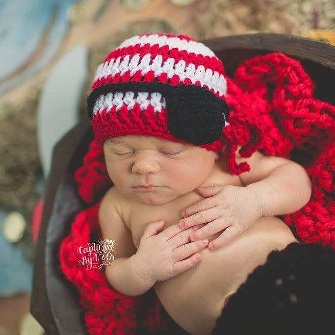 Crochet Baby Pirate Hat Beanie Costume Infant Newborn Photography Photo Prop Baby Shower Gift Red White Striped Black Eye Patch - Red Lollipop Boutique