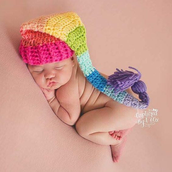 Rainbow Baby Hat Beanie Stocking Cap Striped Infant Newborn Toddler Photography Photo Prop Baby Shower Gift After Miscarriage