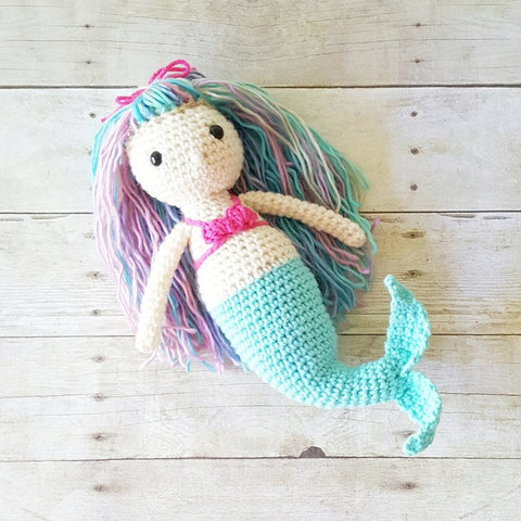 Crochet Mermaid Doll Toy Handmade Toddler Baby Shower Gift Nursery Decor