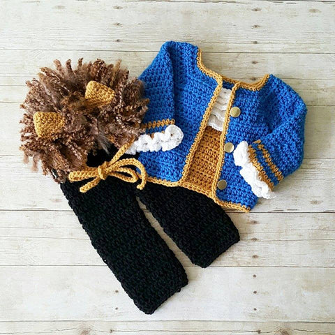 Crochet Beast Costume Beauty and the Beast Hat Bonnet Pants Shirt Disney Infant Newborn Baby Photography Photo Prop Baby Shower Gift Present