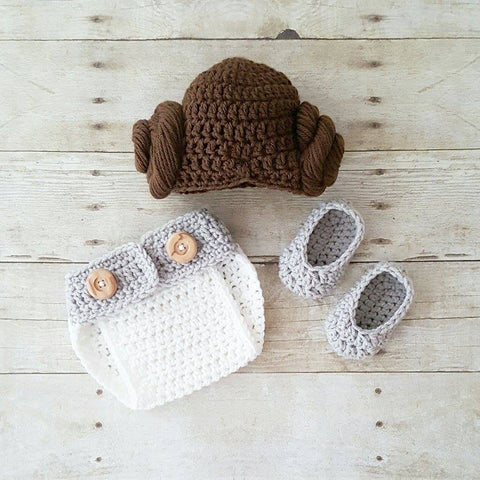 Crochet Baby Princess Leia Hat Wig Hair Diaper Cover Shoes Star Wars Costume Infant Newborn Baby Photography Photo Prop Shower Gift Present