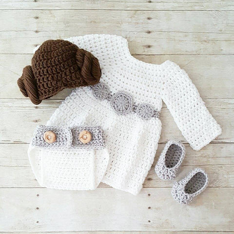 Crochet Baby Princess Leia Dress Hat Wig Hair Diaper Cover Shoes Star Wars Costume Infant Newborn Baby Photography Photo Prop Shower Gift