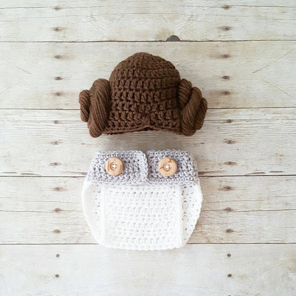 Crochet Baby Princess Leia Hat Wig Hair Diaper Cover Shoes Star Wars