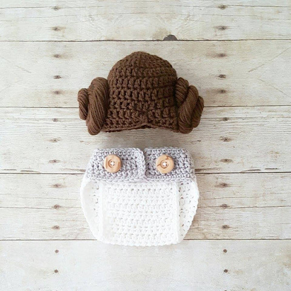 Crochet Baby Princess Leia Dress Hat Wig Hair Diaper Cover Shoes Star Wars Costume Infant Newborn Baby Photography Photo Prop Shower Gift - Red Lollipop Boutique