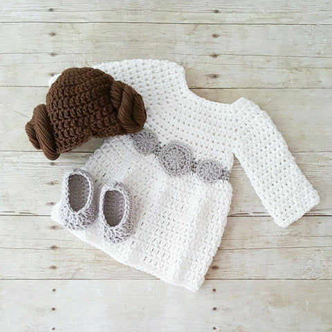 READY TO SHIP Newborn Crochet Baby Princess Leia Dress Hat Wig Hair Shoes Star Wars Costume Infant Newborn Baby Photography Photo Prop Baby Shower Gift Present