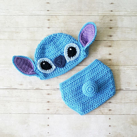 Crochet Stitch Hat Beanie Diaper Cover Lilo and Stitch Disney Costume Infant Newborn Baby Photography Prop Baby Shower Gift Baby Boy