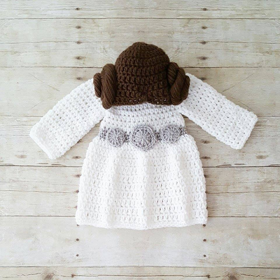 Crochet Baby Princess Leia Dress Hat Wig Hair Star Wars Costume Infant Newborn Baby Photography Photo Prop Baby Shower Gift Present - Red Lollipop Boutique