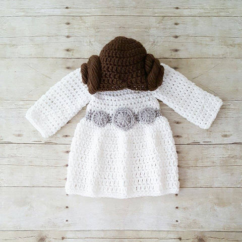 Crochet Baby Princess Leia Dress Hat Wig Hair Star Wars Costume Infant Newborn Baby Photography Photo Prop Baby Shower Gift Present