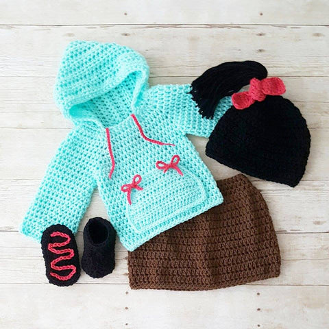 Crochet Vanellope Hat Beanie Shirt Hoodie Skirt Shoes Boots Wreck It Ralph Infant Newborn Baby Costume Photography Photo Prop