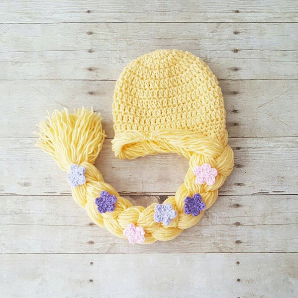 Crochet Baby Rapunzel Dress Hat Hair Wig Shoes Set Infant Newborn Princess Tangled Flowers Photography Photo Prop Baby Shower Gift Present - Red Lollipop Boutique