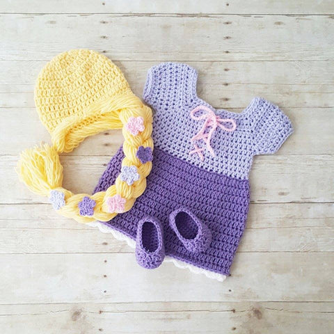 Crochet Baby Rapunzel Dress Hat Hair Wig Shoes Set Infant Newborn Princess Tangled Flowers Photography Photo Prop Baby Shower Gift Present