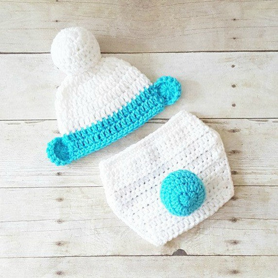 Crochet Baby Smurfs Hat Beanie Diaper Cover Set Infant Newborn Baby Photography Photo Prop Baby Shower Gift Present Cartoon Character - Red Lollipop Boutique