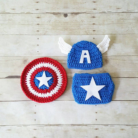 e29b5f0dc1179 Crochet Baby Captain America Hat Beanie Shield Diaper Cover Set Superhero  Infant Newborn Baby Photography Photo