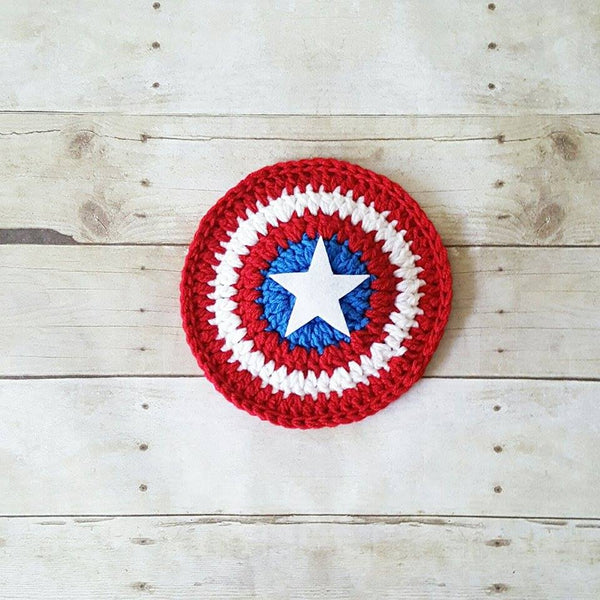 Crochet Baby Captain America Hat Beanie Shield Set Superhero Infant Newborn Baby Toddler Child Photography Photo Prop Baby Shower Gift - Red Lollipop Boutique