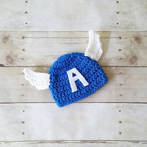 Crochet Baby Captain America Hat Beanie Diaper Cover Set Superhero Infant Newborn Baby Photography Photo Prop Baby Shower Gift Present - Red Lollipop Boutique