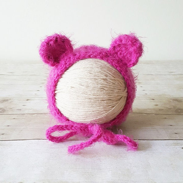 Crochet Baby Bear Bonnet Fuzzy Furry Soft Infant Newborn Baby Toddler Child Hat Beanie Photography Photo Prop Baby Shower Gift Present