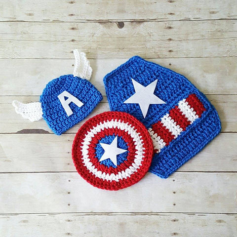 Crochet Baby Captain America Hat Beanie Shield Cape Set Superhero Newborn 0-3 Months Diaper Cover Optional Photography Photo Prop Gift