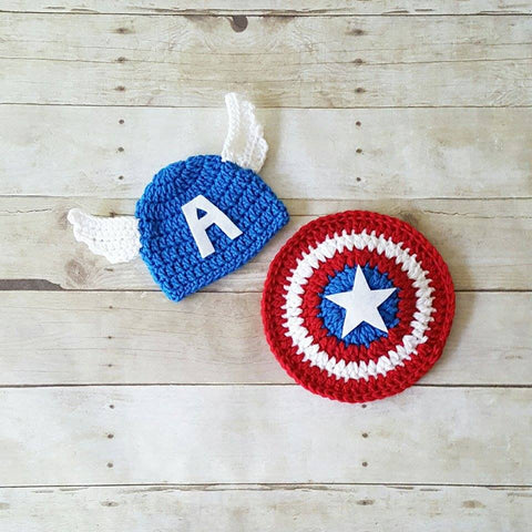 aed735c546432 Crochet Baby Captain America Hat Beanie Shield Set Superhero Infant Newborn  Baby Toddler Child Photography Photo
