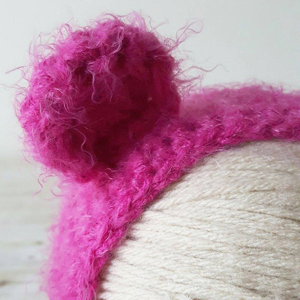 Crochet Baby Bear Bonnet Fuzzy Furry Soft Infant Newborn Baby Toddler Child Hat Beanie Photography Photo Prop Baby Shower Gift Present - Red Lollipop Boutique