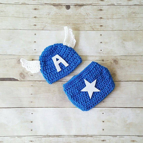 Crochet Baby Captain America Hat Beanie Diaper Cover Set Superhero Infant Newborn Baby Photography Photo Prop Baby Shower Gift Present