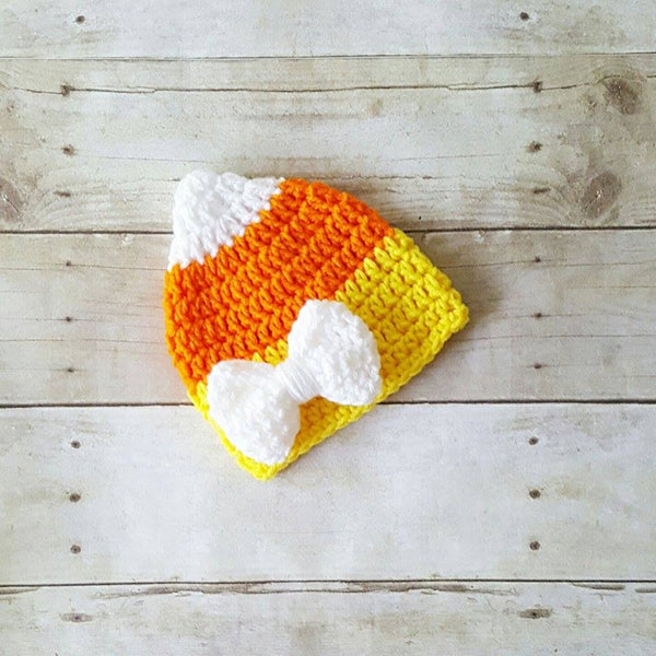 Crochet Candy Corn Beanie Hat Halloween Costume Newborn Infant Baby Toddler Child Adult Handmade