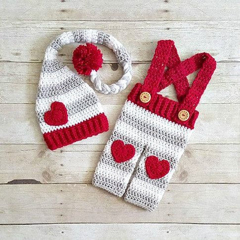 Crochet Baby Valentine's Day Hat Beanie Stocking Cap Pants Overalls Set Striped Heart Infant Newborn Baby Toddler Child Adult Handmade Photography Photo Prop Baby Shower Gift Present - Red Lollipop Boutique