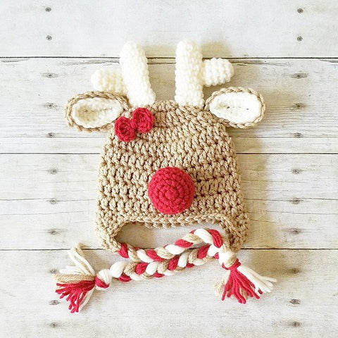 Crochet Rudolph Reindeer Christmas Hat Beanie Infant Newborn Baby Toddler Child Adult Optional Bow Photography Photo Prop Holidays Baby Shower Gift