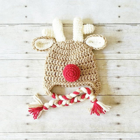READY TO SHIP 0-3 Months Crochet Rudolph Reindeer Christmas Hat Beanie Infant Baby Photography Photo Prop Holidays Baby Shower Gift