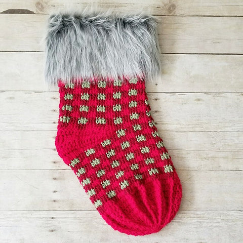 Crochet Plaid Christmas Stocking Decoration Home Decor Santa Claus Fur Burlap