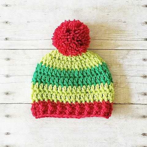 Crochet Christmas Striped Beanie Hat Holiday Baby Infant Newborn Toddler Child Adult Handmade Baby Shower Gift Photography Photo Prop Winter Accessory - Red Lollipop Boutique