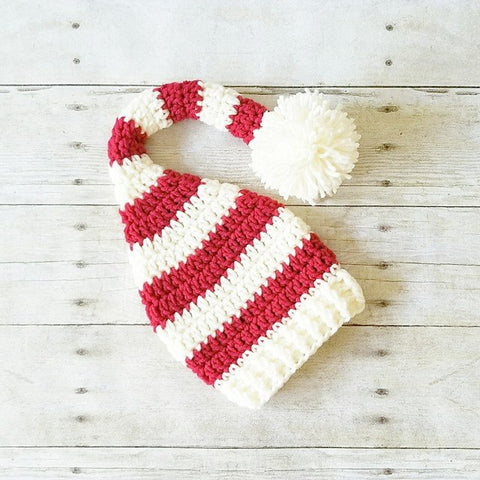 Crochet Christmas Striped Beanie Hat Stocking Cap Holiday Baby Infant Newborn Toddler Child Adult Handmade Baby Shower Gift Photography Photo Prop Winter Accessory