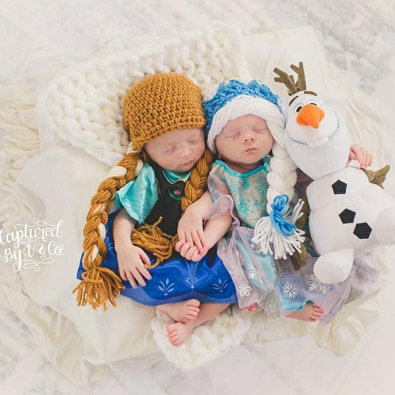 Crochet Baby Frozen Hat Beanie Queen Elsa Princess Anna Disney Inspired Hair Infant Newborn Baby Toddler Child Adult Photography Photo Prop Costume - Red Lollipop Boutique