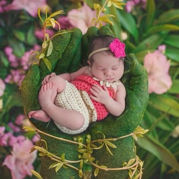 Crochet Baby Moana Set Shirt Diaper Headband Flower Floral Headpiece Sea Turtle Necklace Infant Newborn Photography Photo Prop Baby Shower - Red Lollipop Boutique