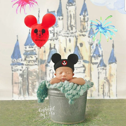 Crochet Mouseketeer Hat Beanie Mickey Mouse Disney Inspired Infant Newborn Baby Toddler Child Adult Photography Photo Prop Baby Shower Gift