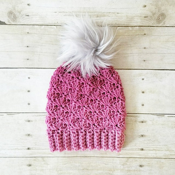 Crochet Pompom Bun Beanie Shells Handmade Accessory Pony Tail Beanie Hat Infant Newborn Baby Toddler Child Adult Fur Pom Pom