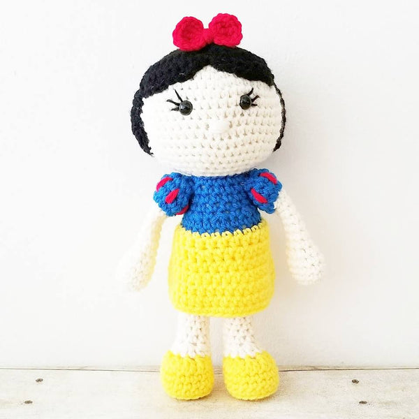 Crochet Baby Snow White Dress Doll Set Bow Headband Shoes Set Costume Dress Up Handmade Disney Inspired Baby Shower Gift Photography Photo Prop - Red Lollipop Boutique