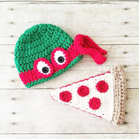 Crochet Ninja Turtle Hat Beanie Pizza Set Newborn Baby Infant Toddler Child Adult Handmade Photography Photo Prop Baby Shower Gift